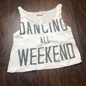 "Bershka ""Dancing All Weekend"" Crop Tank"